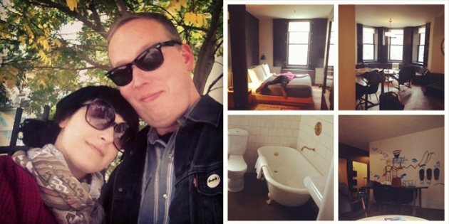 A beautiful walk through Brooklyn looking for, what else? Brunch.   Our sweeeet loft room at the Ace hotel