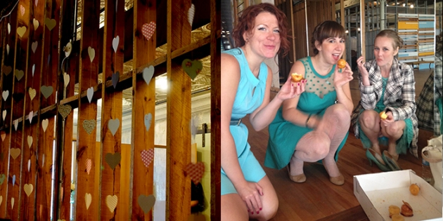 Heart garland decoration | Bridesmaids chowing down on some cake pre-ceremony