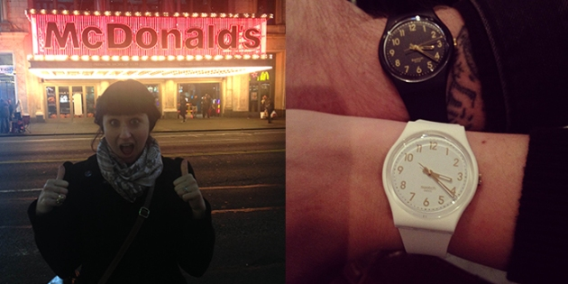 we made a brief stop in Times Square and I was mostly just impressed by this sparkly McDonalds sign! | His & Hers Swatch watches