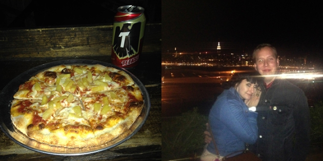 this bar in Brooklyn was totally awesome because: every time you bought a beer you also got a pizza. For free!   The view of Manhattan from Williamsburg